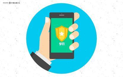 Diseño de teléfono inteligente de la policía 911