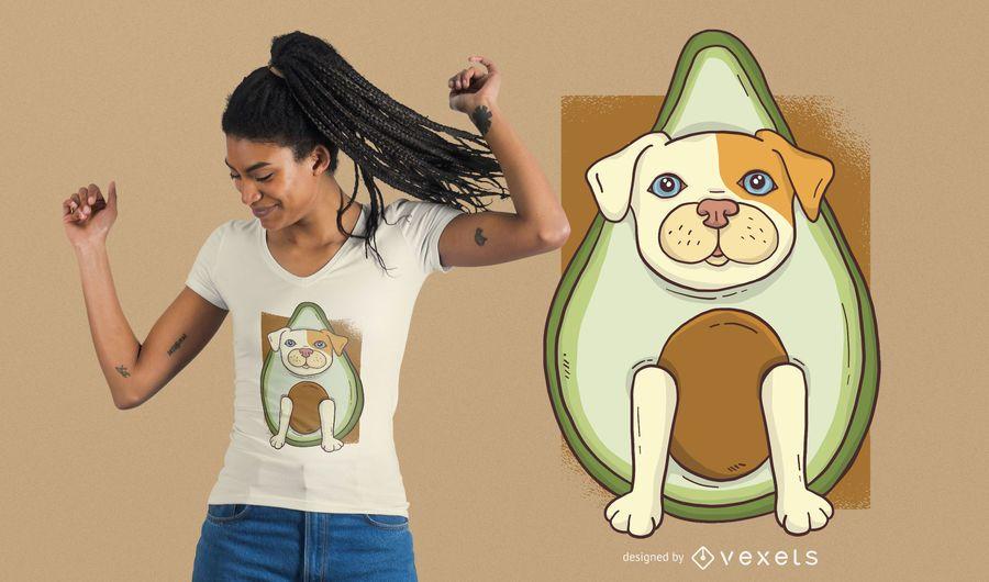Design do t-shirt do cão do abacate