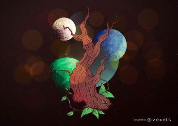 Fantasie-Baum-Illustration