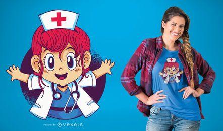 Diseño de camiseta de niña doctor