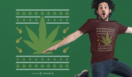 Weed hässliches Weihnachtsstrickjacke-T-Shirt Design