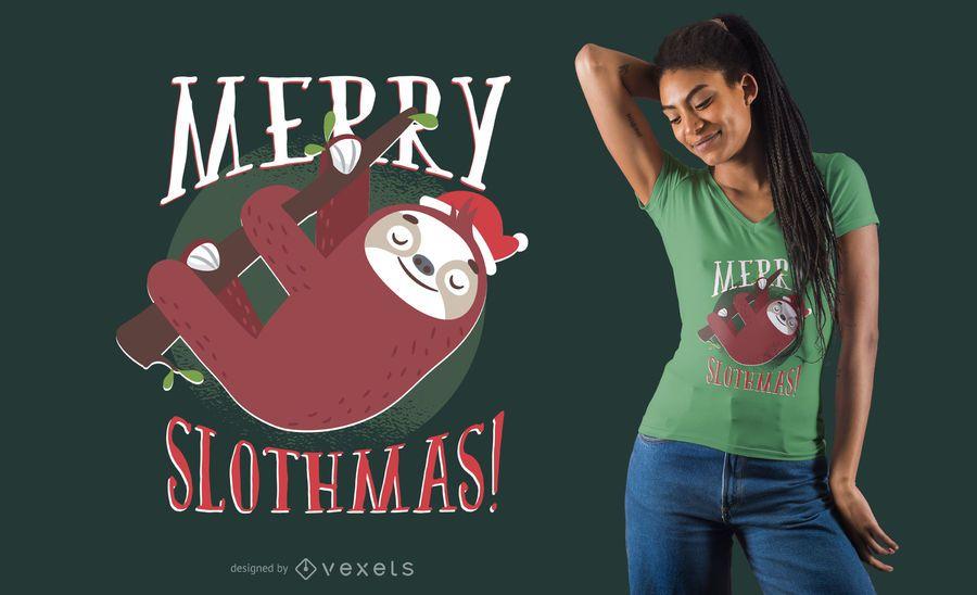 Diseño de camiseta de Navidad perezoso