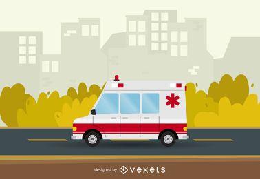 Ilustração de ambulância hospitalar