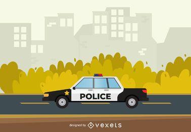 Ilustración de coche patrulla de la policía