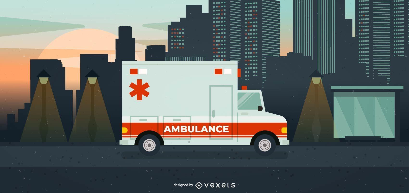 Ilustración de ambulancia de gran hospital