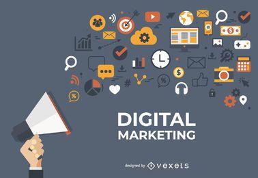 Design de banner de marketing digital