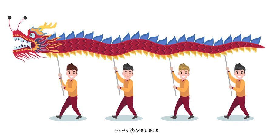 Ilustración de la danza del dragón chino