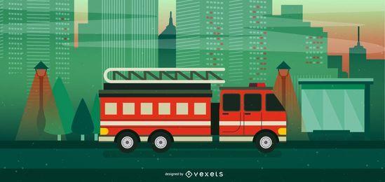 Ilustración de camión de bomberos rojo