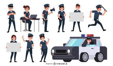 Conjunto de caracteres de oficial de policía
