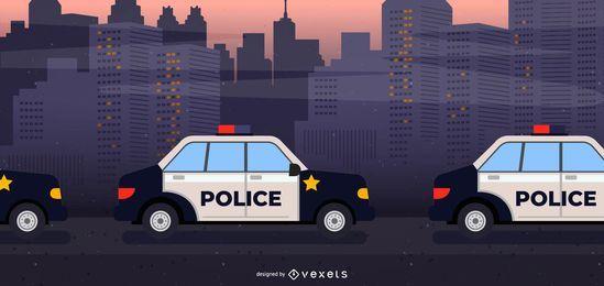 Coches de policía en la ilustración de línea