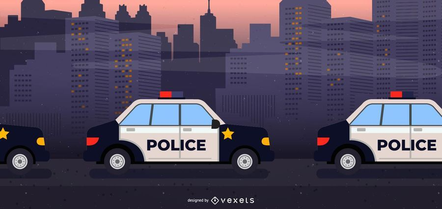 Police Cars In Line Illustration