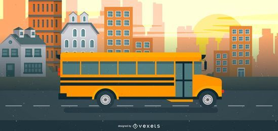 Travelling School Bus Illustration