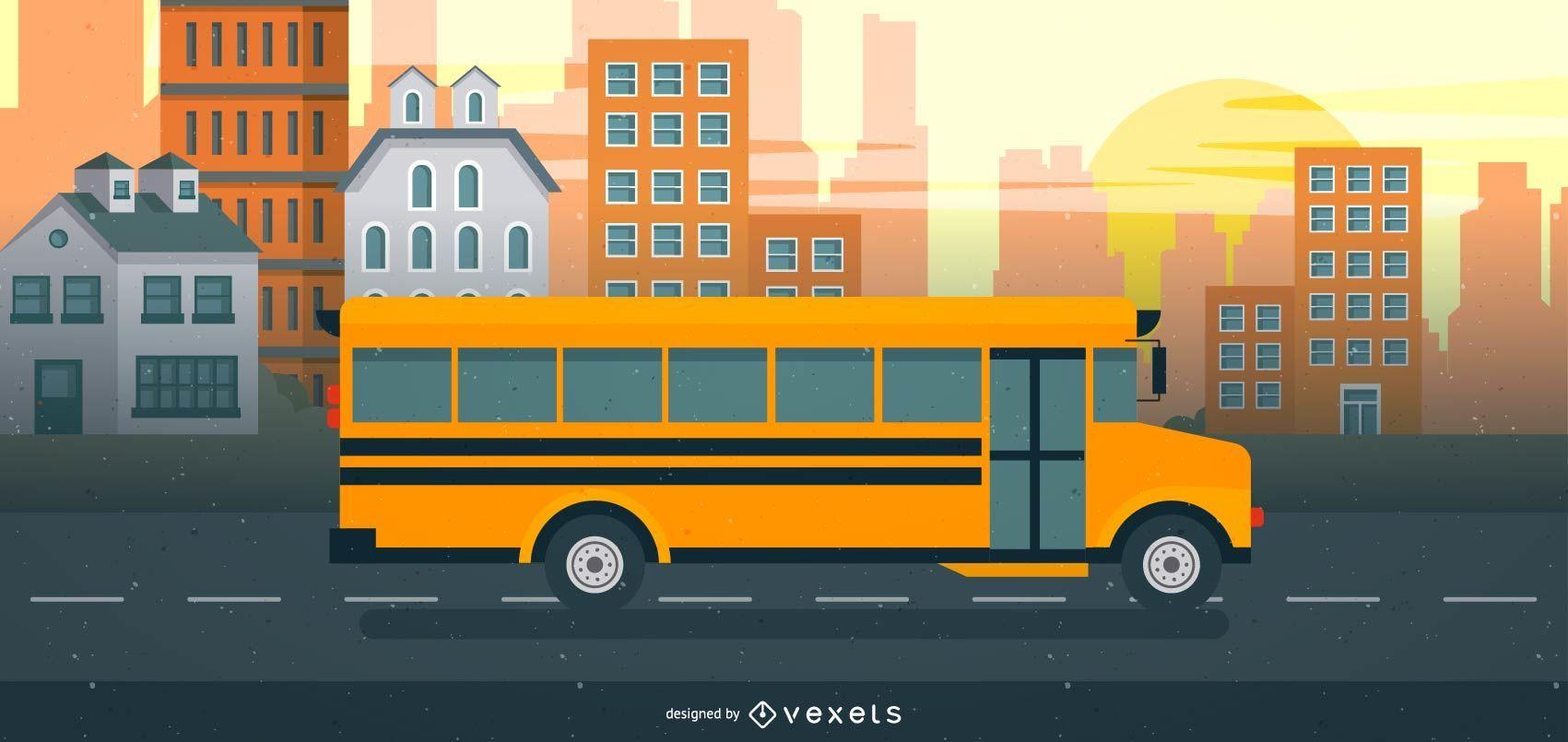 Ilustración de autobús escolar que viaja