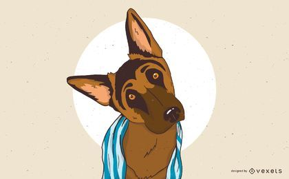 Sleepy German Shepherd Dog Illustration