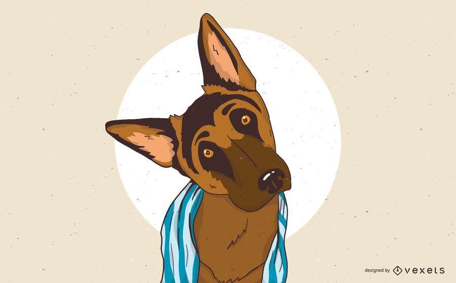 Ilustração de cão pastor alemão sonolento