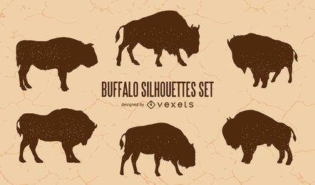 Conjunto de silueta de búfalo