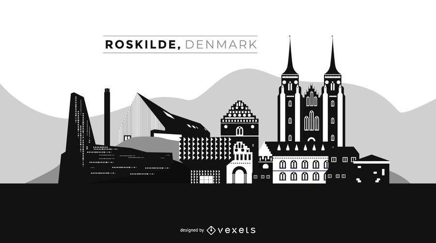 Horizonte de la ciudad de Roskilde Dinamarca