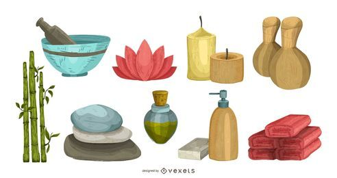 Spa Essentials-Illustrationssatz