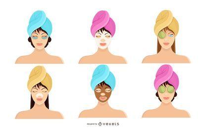 Conjunto de iconos de mujer Spa