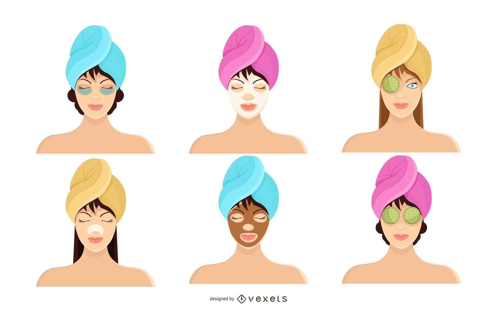 Woman Spa Icon Set