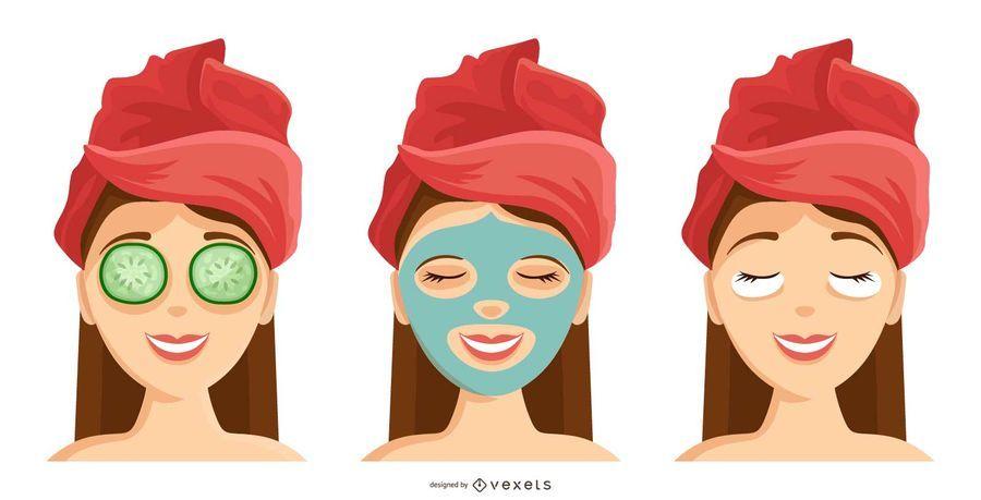 Women Spa Facial Icon Set