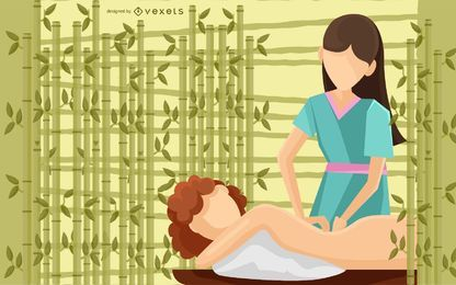 Spa Body Massage Illustration
