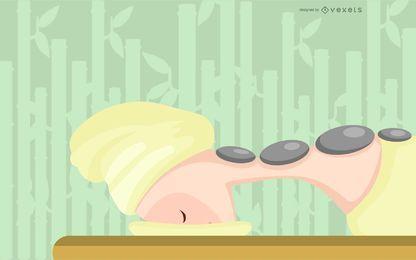 Spa masaje con piedras calientes