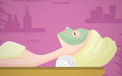 Ilustração de massagem facial Spa