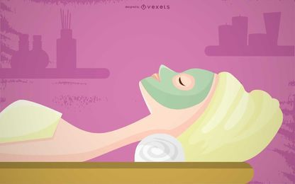 Spa Facial Massage Illustration