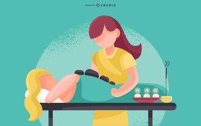 Ilustração de massagem com pedras quentes