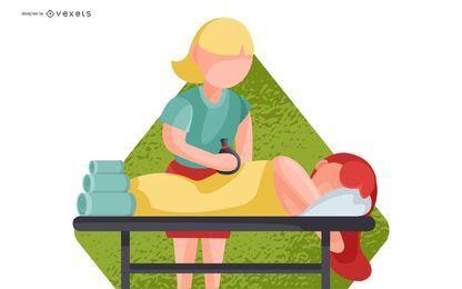 Spa Full Body Massage Illustration