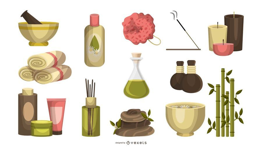 Conjunto de ícones de massagem Spa
