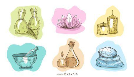 Conjunto de ilustración Spa Essentials