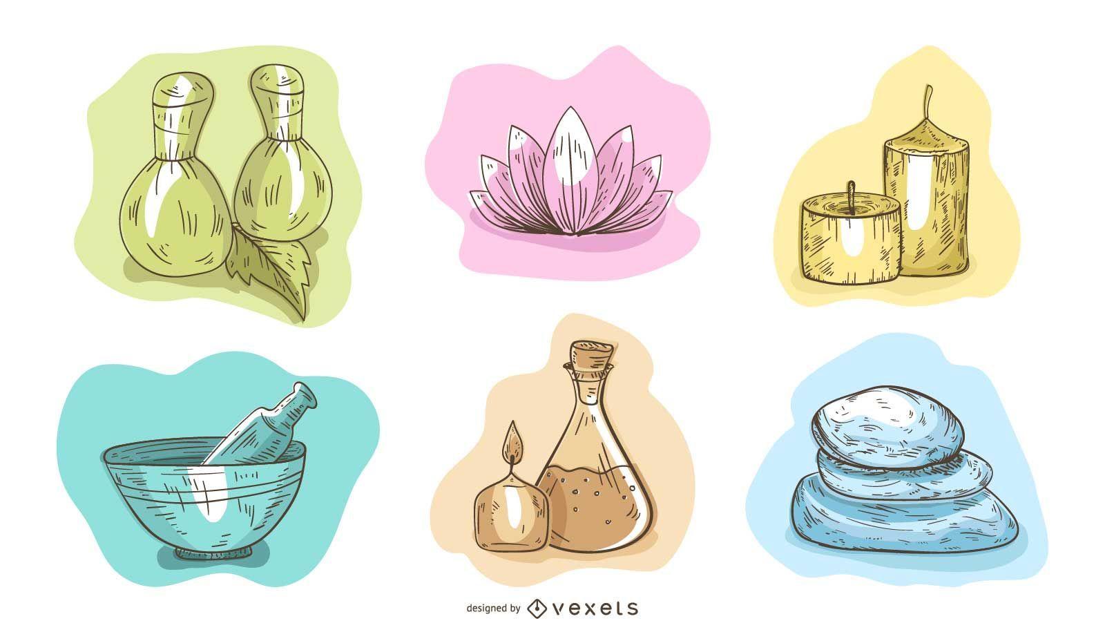 Spa Essentials Illustration Set