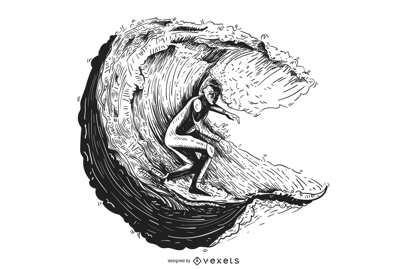 Surfing Illustration Sketch Style