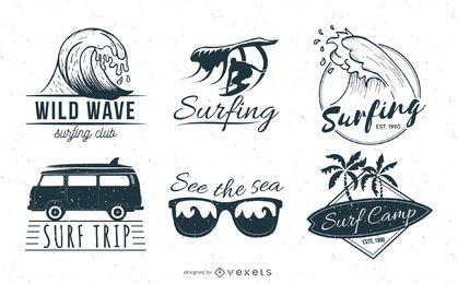 Conjunto de insignias de surf en blanco y negro