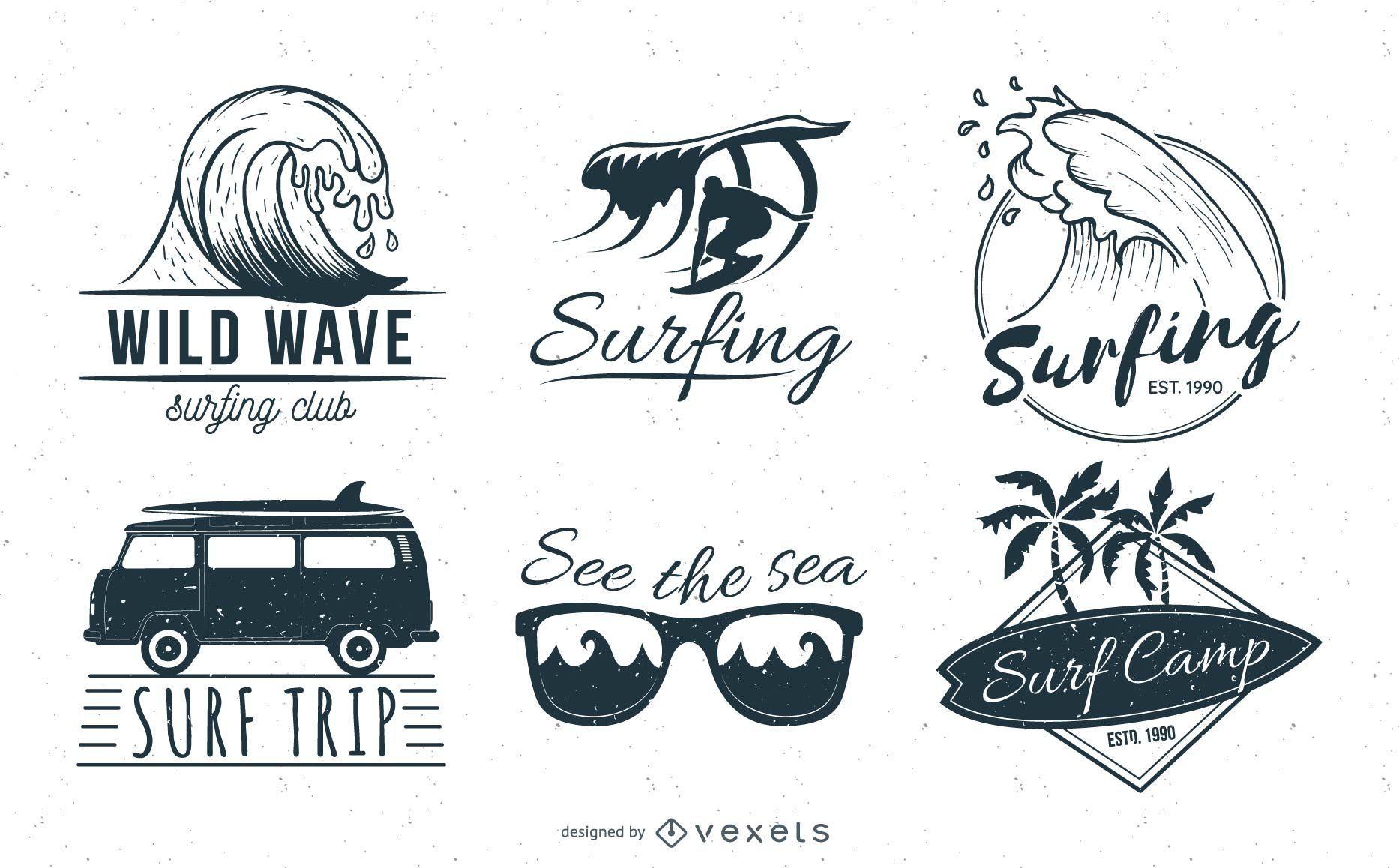 Conjunto de emblemas de surf em preto e branco