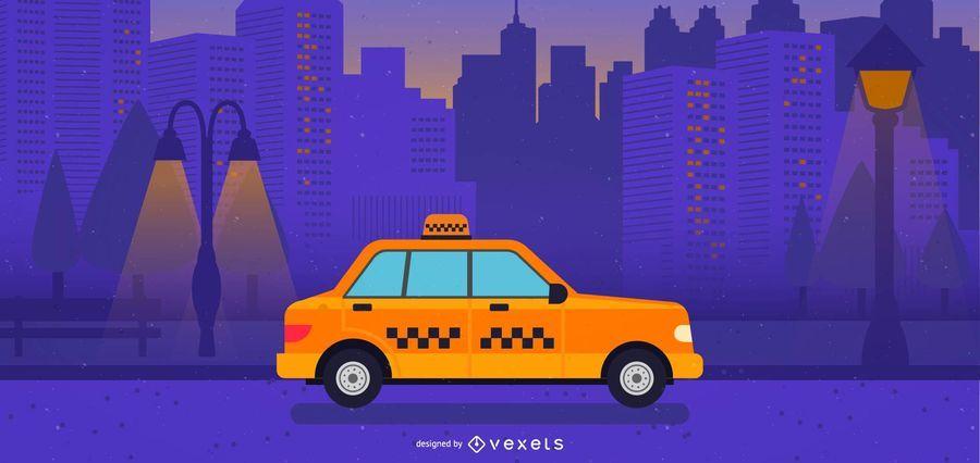 Ilustração de táxi amarelo cidade