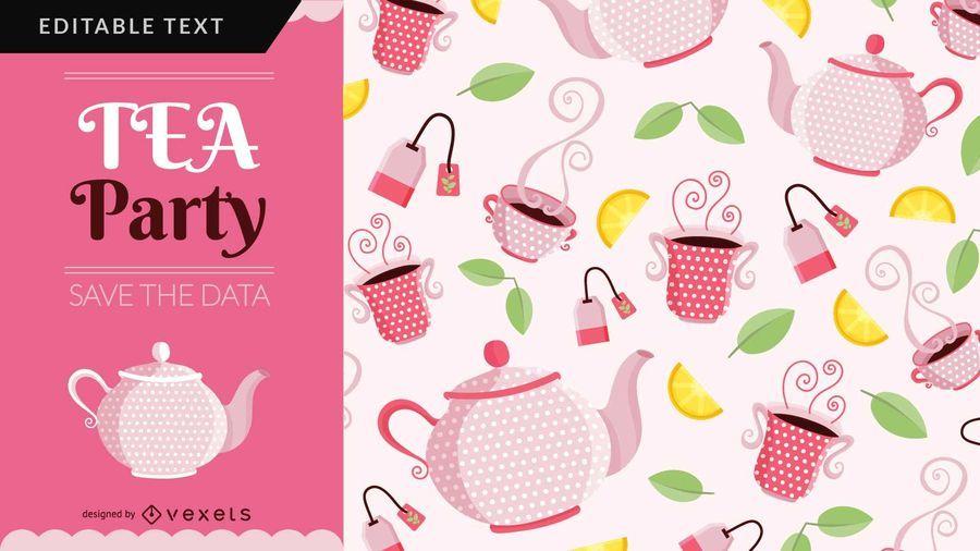 Design de cartão de festa de chá