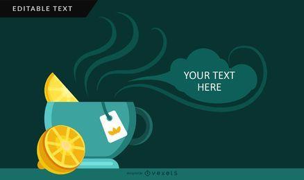 Design de cartão de chá de limão