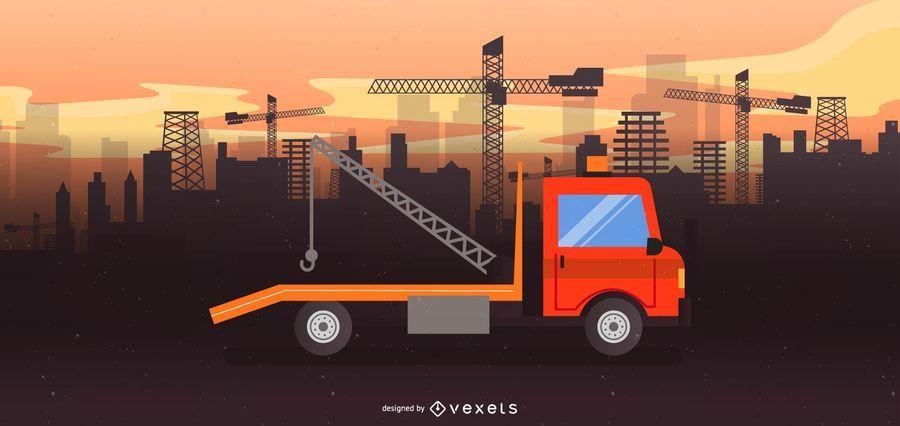 Ilustración de camión de remolque