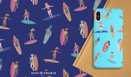 Patrón sin costuras de mujer surfista