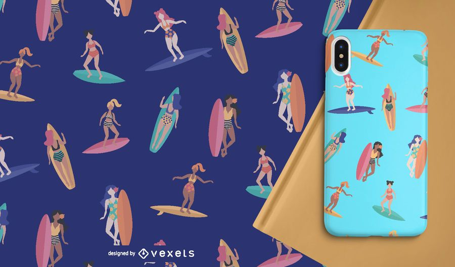 Women Surfer Seamless Pattern