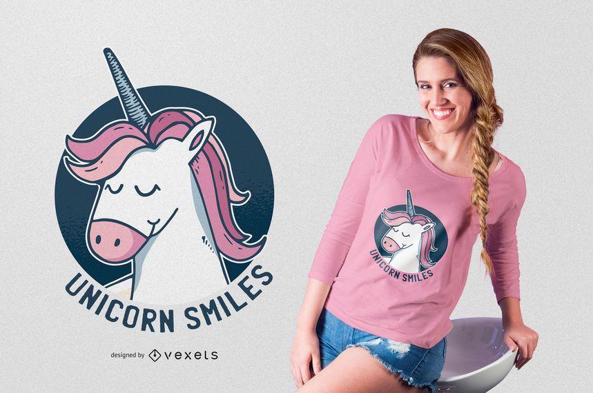 Projeto do t-shirt do sorriso do unicórnio