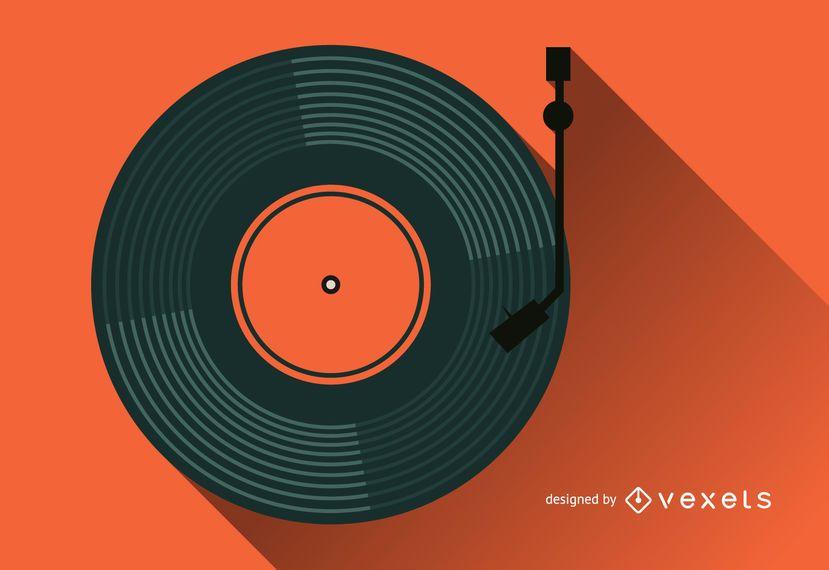 Ilustración de registro de fonógrafo de vinilo