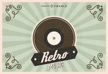 Ilustração de disco de vinil retrô