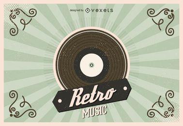 Ilustración de disco de vinilo retro