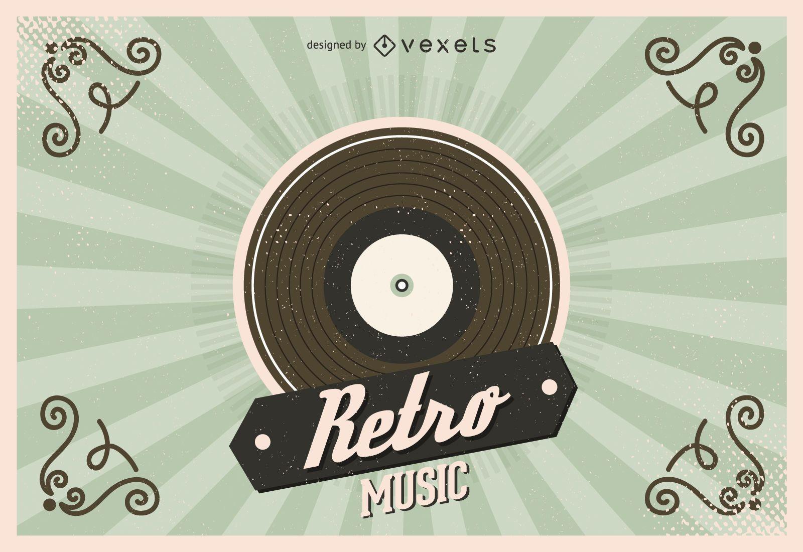 Retro Vinyl Record Illustration
