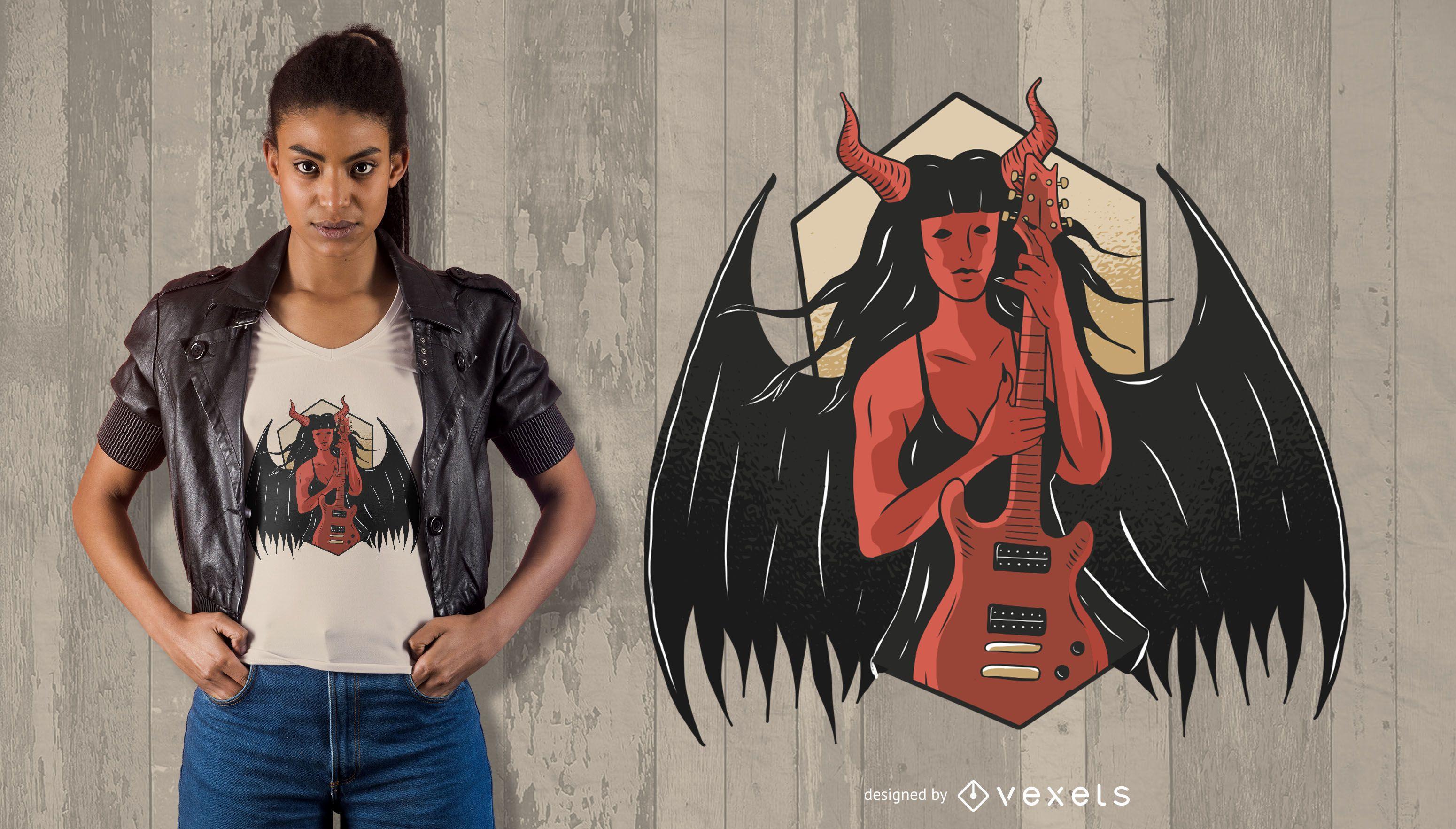 Demon with Guitar T-Shirt Design