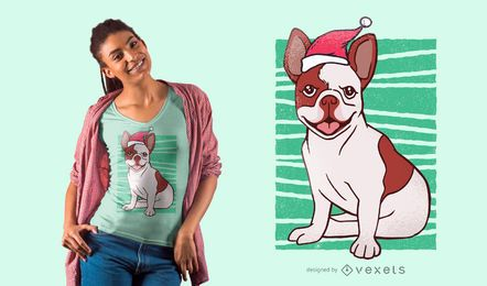 Projeto do t-shirt do buldogue do Natal
